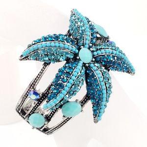 Starfish Cuff Bracelet Turquoise Color Rhinestones